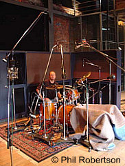Online Studio Drummer Phil Robertson in the studio