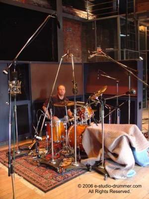 Drummer Phil Robertson in the studio